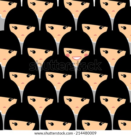 Individuality concept. Teenager is standing out from the crowd. Only one girl smiles - stock vector