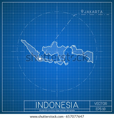 Indonesia blueprint map template capital city stock vector indonesia blueprint map template with capital city jakarta marked on blueprint indonesian map vector malvernweather Gallery