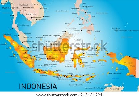 Indonesia country vector color map  - stock vector