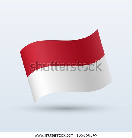 Indonesia flag waving form on gray background. Vector illustration.