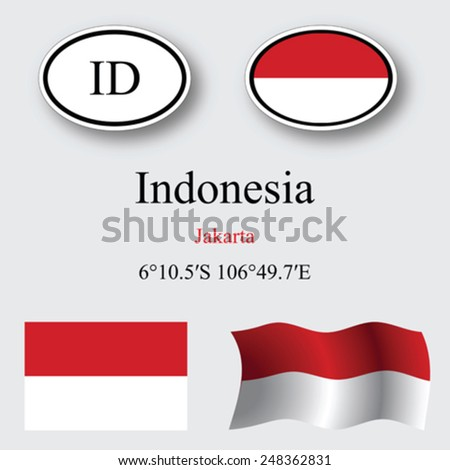 Indonesia icons set against gray background, abstract vector art illustration, image contains transparency