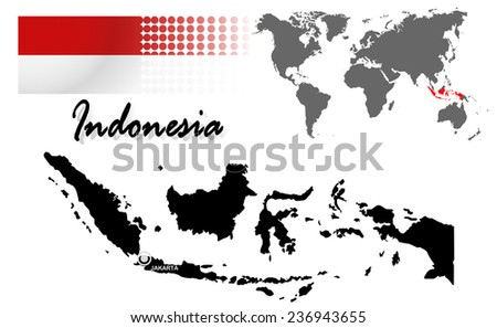 Indonesia info graphic with flag , location in world map, Map and the capital ,Canberra, location.(EPS10 Separate part by part) - stock vector