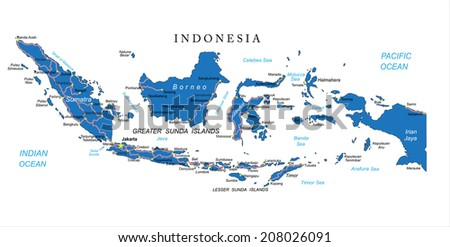Indonesia map - stock vector
