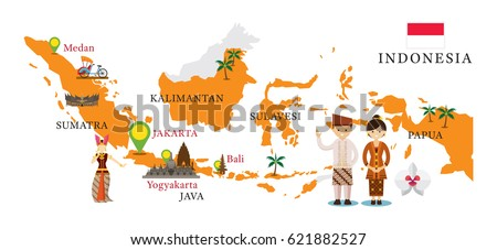 Indonesia Map Landmarks People Traditional Clothing Stock Vector