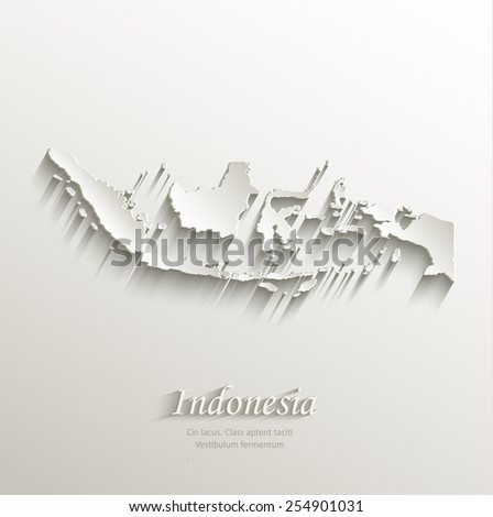 Indonesia map card paper 3D natural vector - stock vector