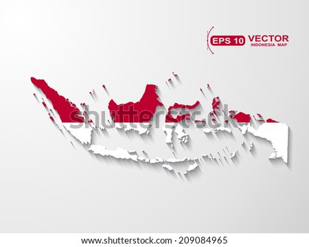 Indonesia map with shadow effect - stock vector
