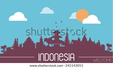 Indonesia skyline silhouette flat design vector illustration.