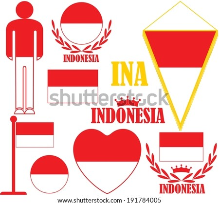 Indonesia. Vector Illustration. Silhouette. Sign. People