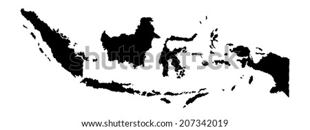 Indonesia vector map isolated on white background silhouette. High detailed illustration. - stock vector