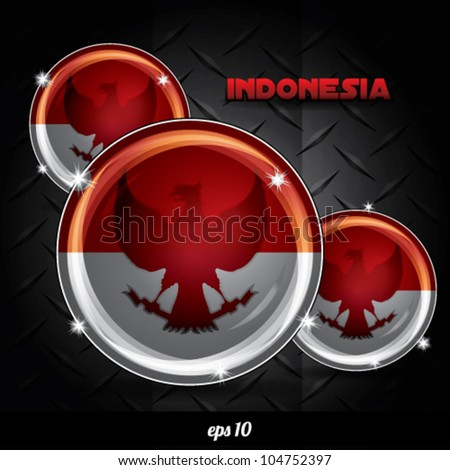 Indonesian badge glossy vector