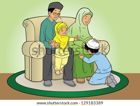 Indonesian muslim Family forgiveness - stock vector