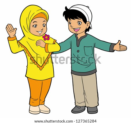 Indonesian muslim kids greeting stock vector 127365284 shutterstock indonesian muslim kids greeting m4hsunfo