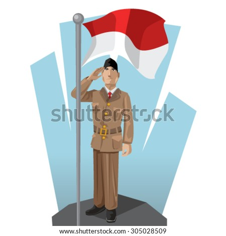 Indonesian Patriot giving Salute to His Mother National Indonesia Flag - stock vector