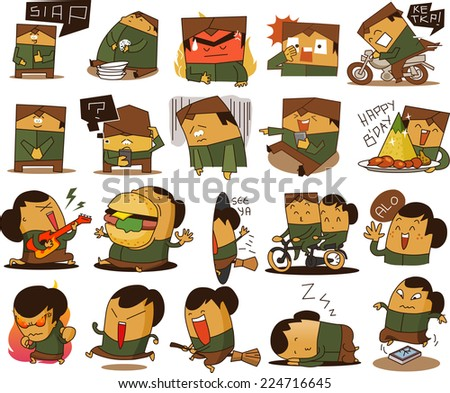 Indonesian people in various act - stock vector