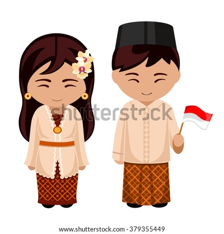 Indonesians in national dress with a flag. A man and a woman in traditional costume. Travel to Indonesia. People. - stock vector