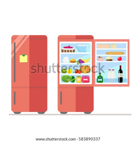 Indoor and outdoor refrigerator with food. Sticker for notes on the door. Dairy and  sc 1 st  Shutterstock & Indoor Outdoor Refrigerator Food Sticker Notes Stock Vector (2018 ...