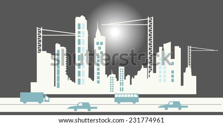 Industrial abstract city background - stock vector