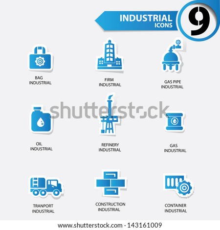 Industrial and building blue version icons,vector - stock vector