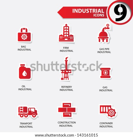 Industrial and building red version icons,vector - stock vector