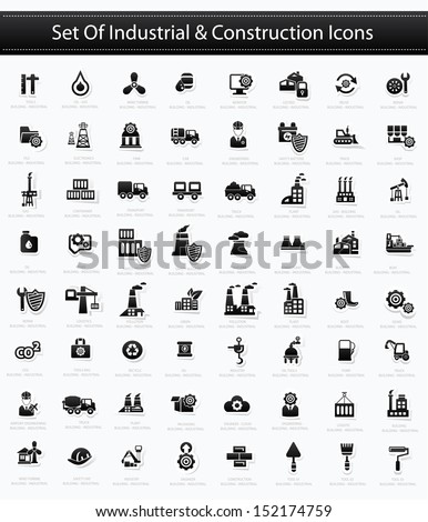 Industrial and Construction icons,Black version,vector - stock vector
