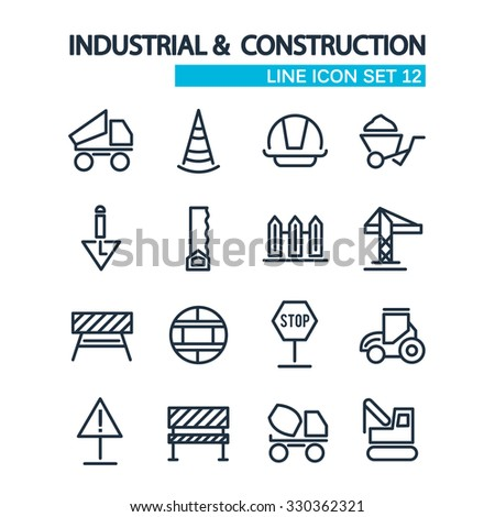 industrial and construction lined icons set. isolated objects on the white background. Vector Illustration, eps10, contains transparencies. - stock vector