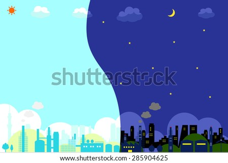 industrial area. night view and day view. - stock vector