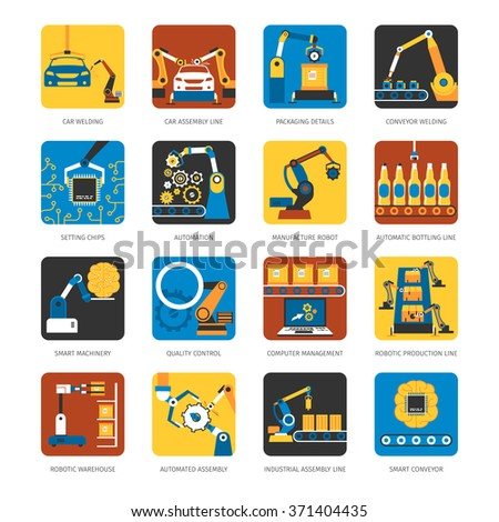 Industrial automated assembly line flat icons set with computer controlled manufacturing machinery robots abstract isolated vector illustration - stock vector