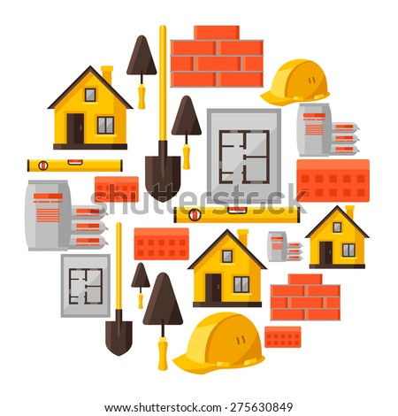 Industrial background design with housing construction objects. - stock vector