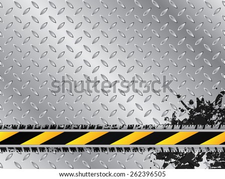 Industrial background with tire treads and striped barrier - stock vector