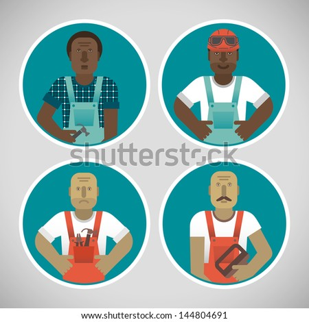 Industrial background with workman. Vector Illustration, eps10, contains transparencies. - stock vector
