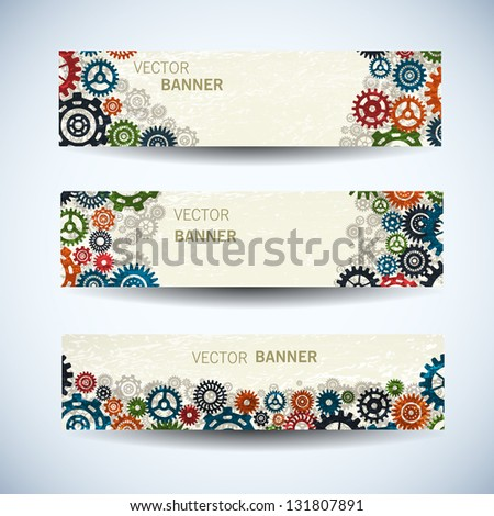 Industrial banners set. Vector Illustration, eps10, contains transparencies. - stock vector
