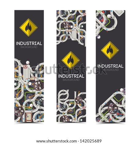 Industrial banners with text fields. Vector Illustration, eps10, contains transparencies. - stock vector
