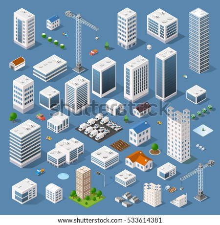 Industrial based on isometric projection of a three-dimensional houses, buildings, cranes, cars and many other design elements necessary creative designers for web projects