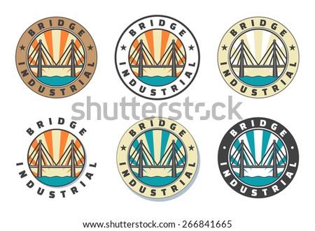 Industrial bridge logo set. Icon. Vintage badge. Vector illustration - stock vector