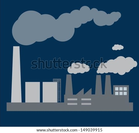 Industrial building factory and power plants .vector - stock vector
