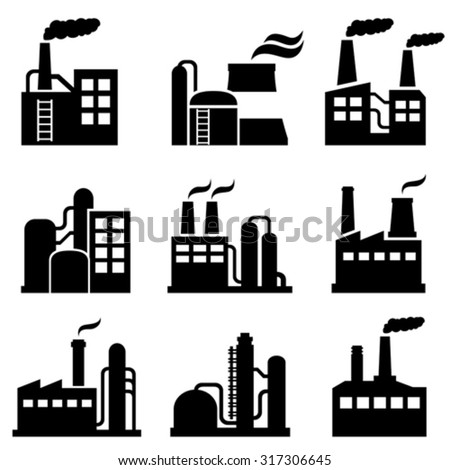 Industrial building, power plant and factory icon set