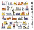 Industrial buildings and plants, pumping stations, boiler houses, factories and industrial buildings in the flat style - stock vector
