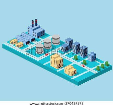 Industrial buildings, factories and boilers in perspective for design and creativity - stock vector