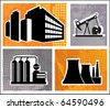 Industrial buildings on a colore background - stock vector