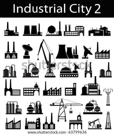 Industrial buildings on a white background - stock vector