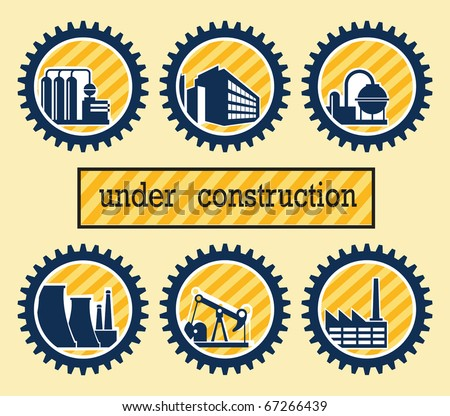 Industrial buildings on the background of gears - stock vector