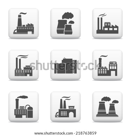Industrial buildings, power plants and factories - stock vector