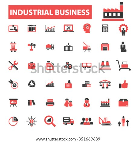 Industrial business, factory, industry, meeting, logistics, manufacturing, industrial plant, engineering, business concept  icons, signs vector concept set  - stock vector