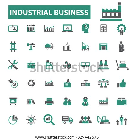 industrial business, factory, management icons - stock vector