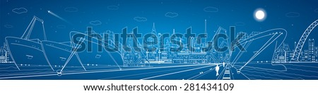Industrial cargo port panorama, vector lines landscape, night city, ships on the water - stock vector