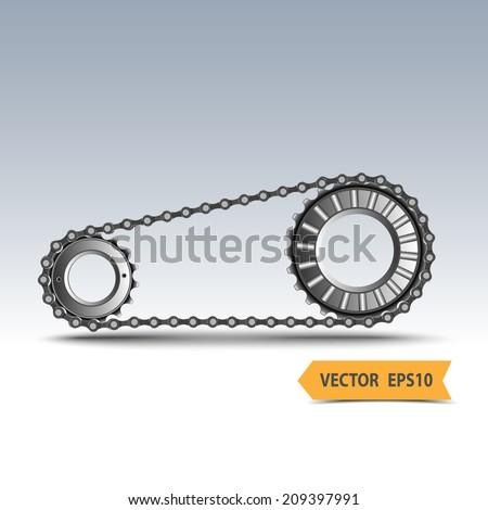 Industrial chain sprocket silhouette,vector - stock vector