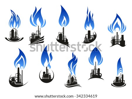 Industrial chemical plant icons with chimneys, pipes and tank storages black silhouettes, supplemented by curved blue flames. For natural gas and oil industry themes design - stock vector