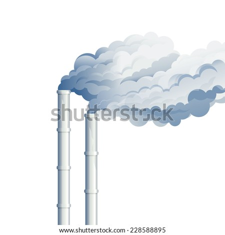 Industrial chimney smoke, environmental pollution, industrial smoke from chimney, smog and fog in sky, ecology concept, eps10 isolated - stock vector