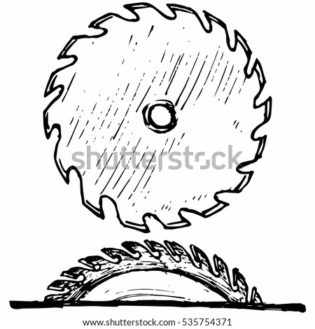 Industrial circular saw disk. Isolated on white background. Vector, doodle style