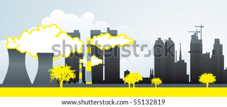 Industrial city and environment. - stock vector
